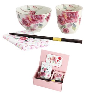 Mino Ware Gift Rose Garden Rice Bowl Japanese Tea Cup Handkerchief