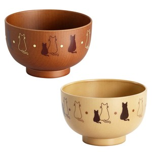 Lacquerware 1Pc Parent And Child Cat Soup Bowl 2 type Brown Natural