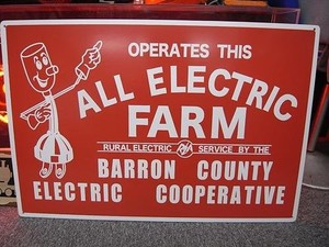 ガレージにどうぞ!【ALL ELECTRIC FARM PLYWOODS SIGN】