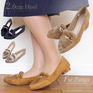 Heel Fur Metallic Heel Suede Pumps