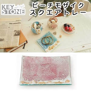 Stone Beach Mosaic Square Tray Coral