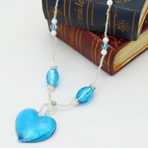 SAORI Necklace Venetian Blue Heart Necklace