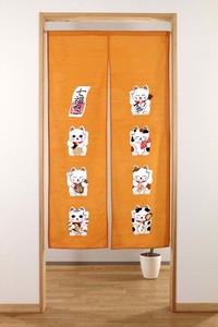 Fortune Japanese Noren Curtain Print Beckoning cat