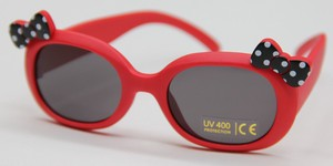 Kids Sunglass Dot Ribbon Attached Red