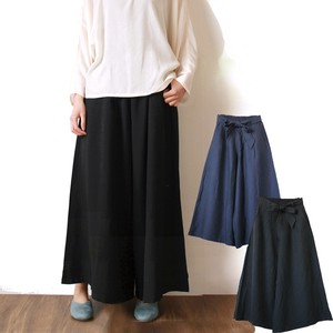 Culotte Skirt Ribbon Belt Rise Black