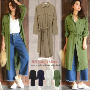 Military Long Shirt Plain Long Long Sleeve Casual