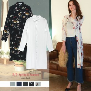 Spring Long Shirt Floral Pattern Plain Long Blouse Casual