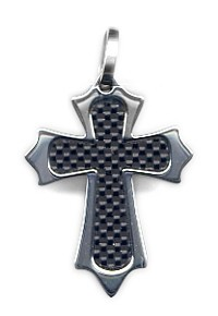 Stainless Pendant Emblem Closs Carbon Pendant