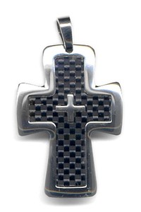 Stainless Pendant Larger Closs Carbon Pendant Black