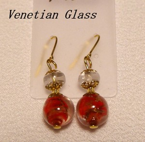 Italy Glass Handmade Pierced Earring Italia Venetian Glass