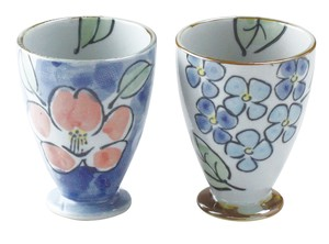 Seto ware Cup Set Fancy Box Overglaze Enamels Flower Hand-Painted Gift