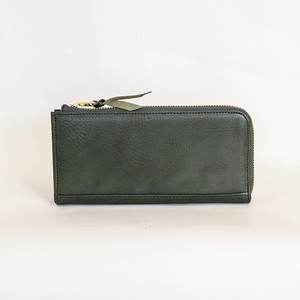 Cow Leather Fastener Long Wallet Green Tochigi Leather Men's Ladies Green