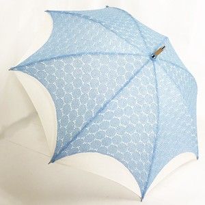 Beach Parasol Stick Umbrella Denim Lace Plain Double
