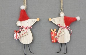 Wood Mouse Ornament 2 type Assort