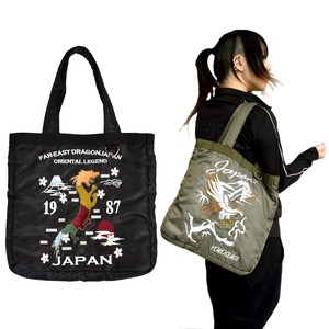 Polyester Twill Sukajan Jacket Embroidery Tote Bag Travel Bag