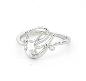 Silver 925 Alphabet Cubic Ring