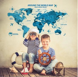Wall Sticker Poster Peel Off SEAL World Map