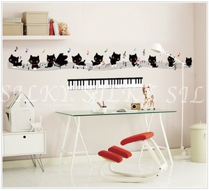 Cat Musical Note Music Classroom Keyboard Score Wall SEAL Scandinavia Peel Off SEAL