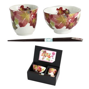 Mino Ware Gift Madder Rice Bowl Japanese Tea Cup Chopstick