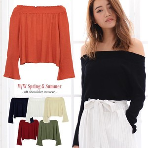 Appreciation Off-Shoulder Cut And Sewn Top Long Sleeve Ladies Casual