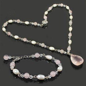 Charm Rose Quartz Pearl Necklace Bracelet