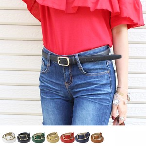 Gold Square Buckle Belt Leather Belt Waist Belt Basic Belt