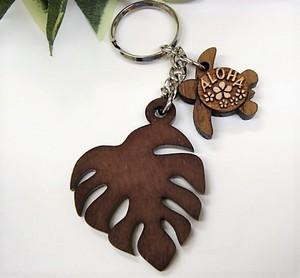 Wood Grain Monstera Key Ring