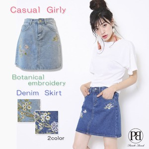 2017 S/S Flower Embroidery Denim Mini Skirt