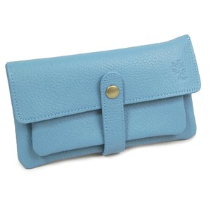 soft Genuine Leather Long Wallet Blue Gray
