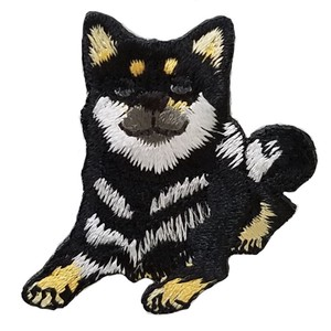 Black and Tan Shiba-inu Iron-on Embroidery Patch, Black