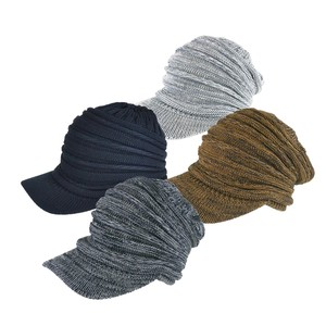 Pleats Tuck Visor Cotton Knitted Cap Young Hats & Cap