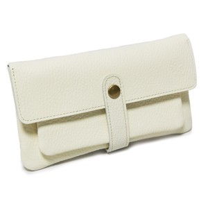 soft Genuine Leather Long Wallet White