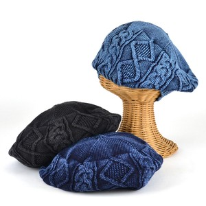 Ruben Indigo Cotton Cable Knitted Beret Young Hats & Cap