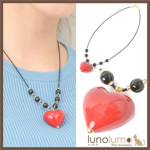 Italy Red Black Heart Venetian Glass Necklace