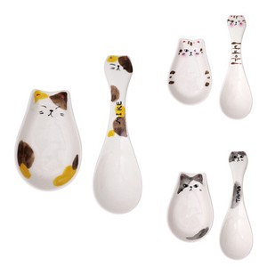 Porcelain 1Pc Naughty Cat Spoon Set 3 Types