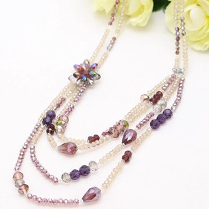 SAORI Long Necklace Glass Beads Purple Flower Long Necklace 2 Colors