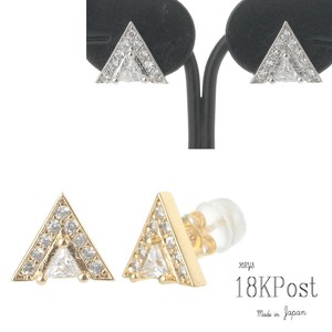 Triangle Glitter Cubic Zirconia Direct Connection Pierced Earring