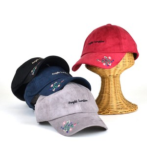 Flower Embroidery Fake Suede Cap Young Hats & Cap