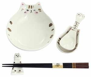 Porcelain Gift Naughty Cat Tonsui Set