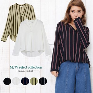 Plain Stripe Pullover Shirt Top Cut And Sewn Blouse Open Neck