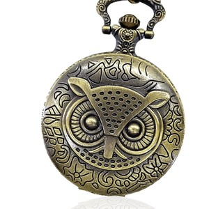 Antique Pocket Watch Owl Animal