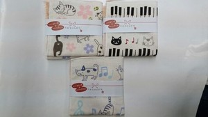 Cat Gauze Towel Handkerchief Black cat Musical Note