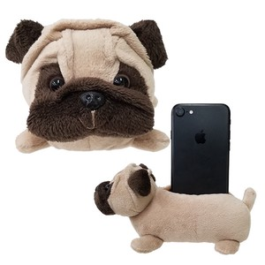 Cell phone Stand・Pug / A soft plush puppy to hold your phone