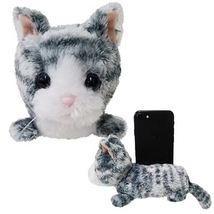 Cell phone Stand・Gray Tabby Cat / A soft plush kitty to hold your phone