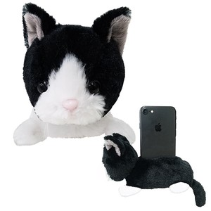 Cell phone Stand・White Sox Cat / A soft plush kitty to hold your phone