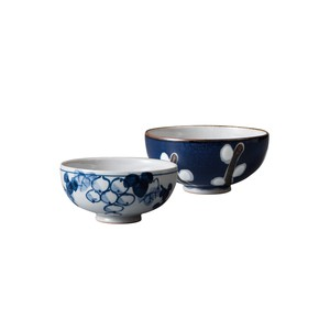 Couple Japanese Rice Bowl Gift Ceramic Indigo-Dyed Pearl