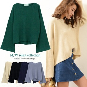 Flare Knitted Top Plain Long Sleeve Pullover Wide Leisurely