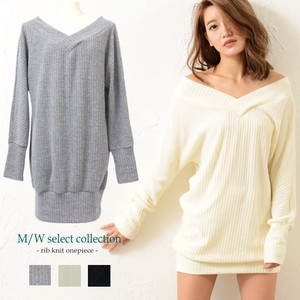 Knitted One-piece Dress Plain Long Sleeve Pullover V-neck