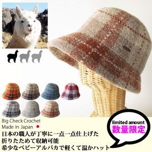 EDGE CITY Hats & Cap Baby Alpaca Big Checkered Hat Ladies