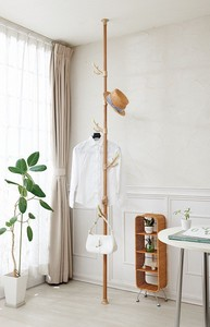 Easy Tightly Pole Clothes Hanger Leaf Hook White Wood Grain